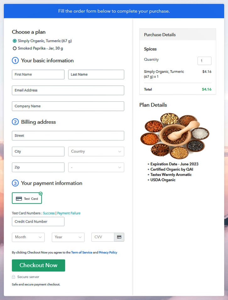 Multiplan Checkout to Sell Spices Online