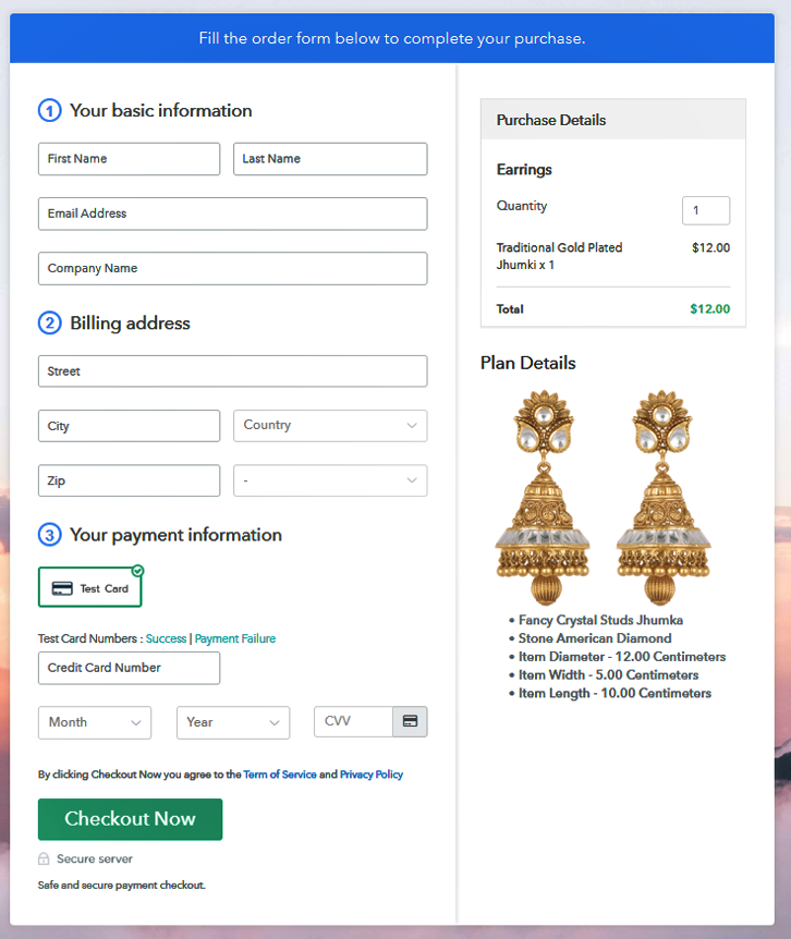 Preview Checkout Page - Sell Earrings Online