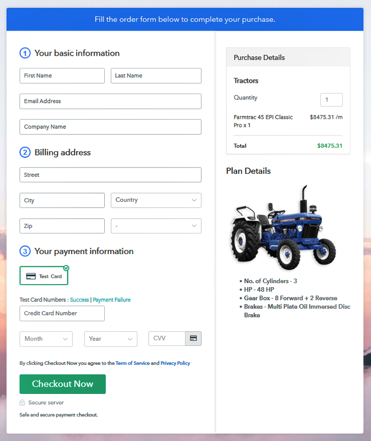 Sell Tractors Online Preview Checkout Page