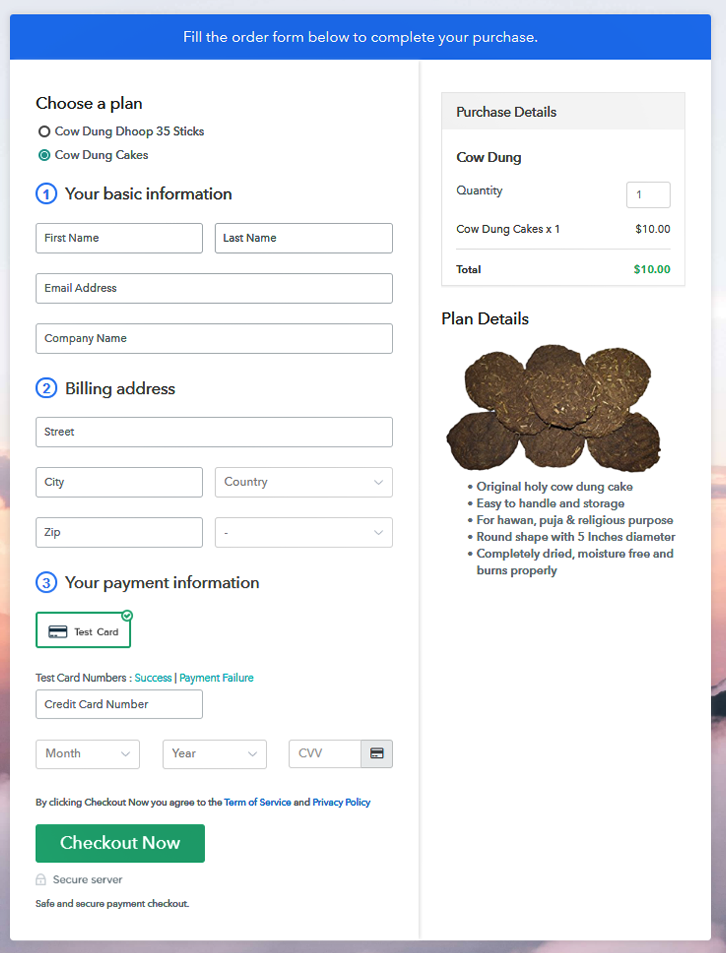 Preview Multiplan Checkout Page - Sell Cow Dung Online