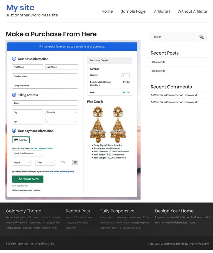 Preview On WordPress Site - Start Selling Earrings Online