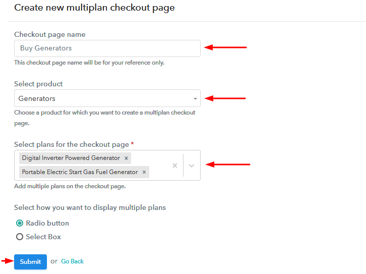 Add Plans to Sell Generators from Single Checkout Page