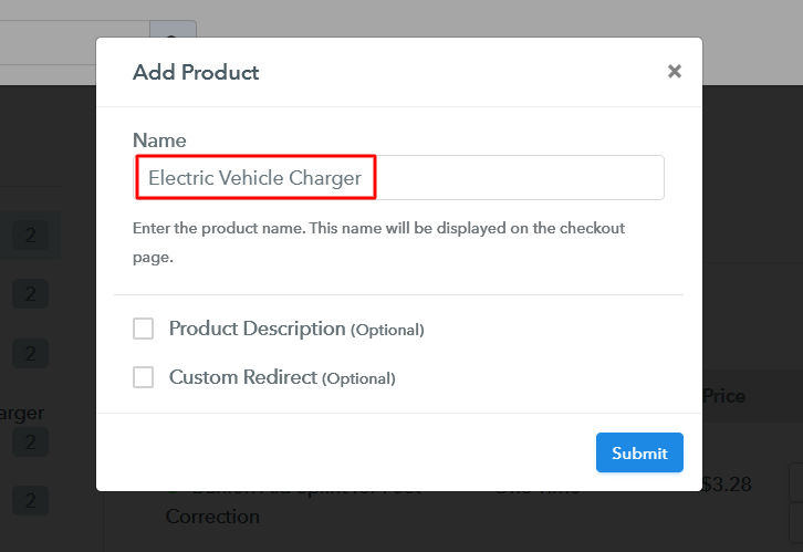 Add Product to Sell Electric Vehicle Charger Online