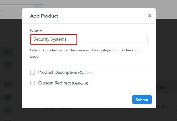 Add Product to Sell Security Systems Online