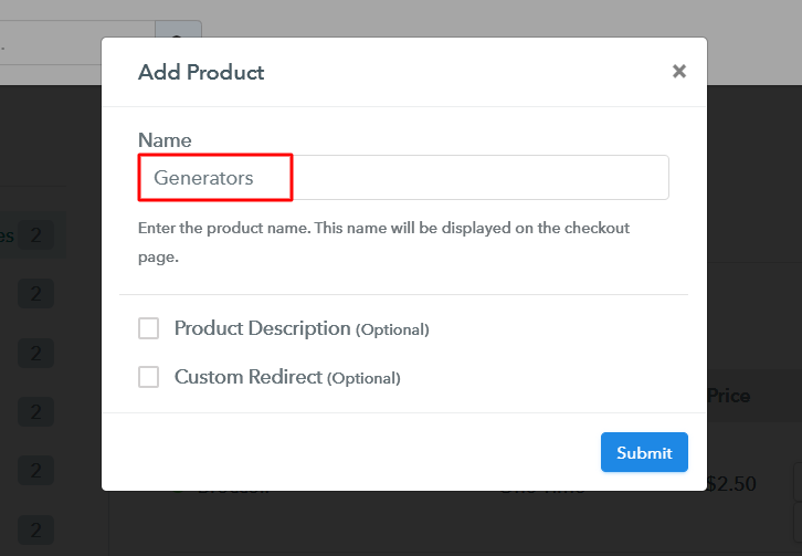 Add Product to Sell Generators Online