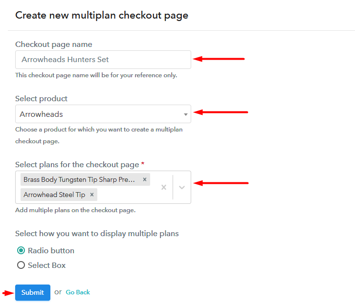 multiplan checkout page