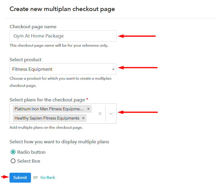 Creating Multiplan Checkout to Sell Fitness Equipments Online