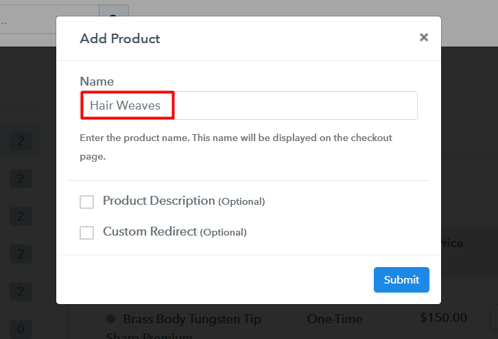 Add Product to Sell Hair Weaves Online