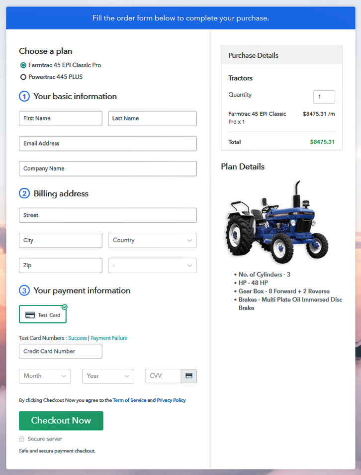 Sell Tractors Online Multi Checkout