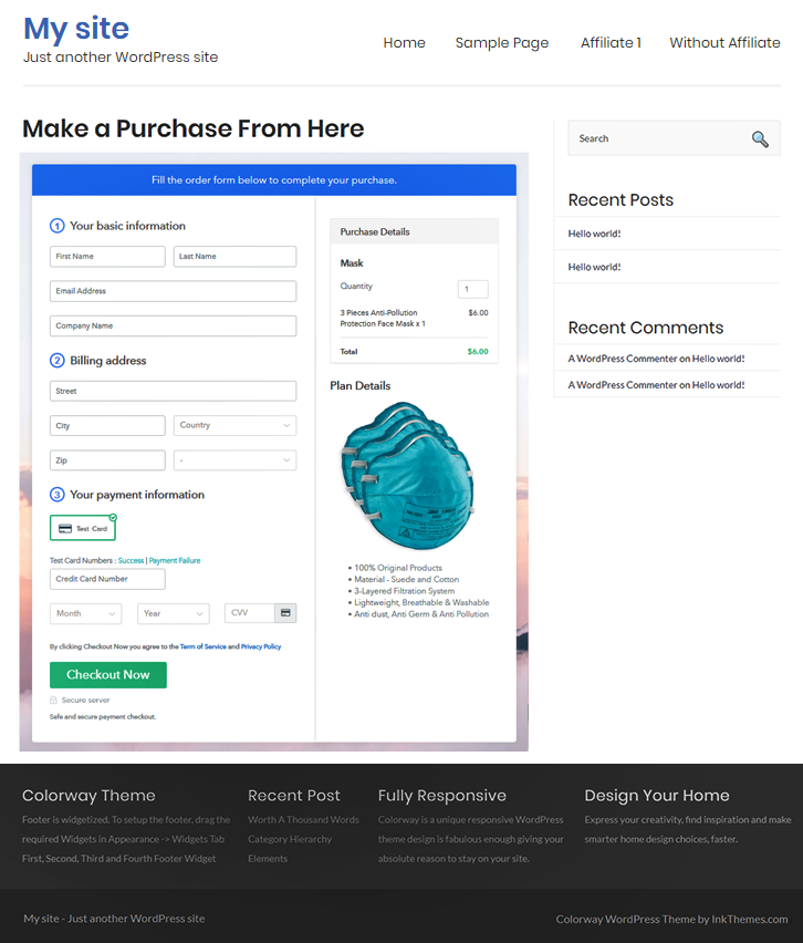 Embed Checkout Page to Sell Masks Online
