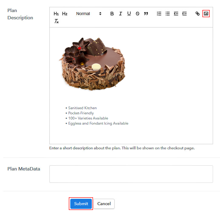 Add Image to Plan Details to Sell Cakes Online