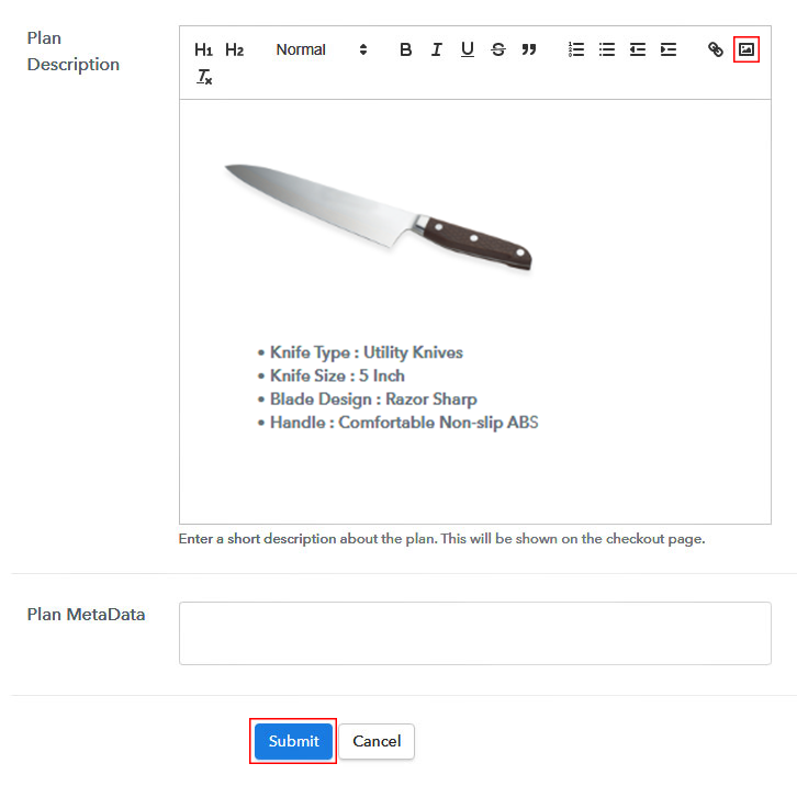 Add Image & Description to Sell Knife Online