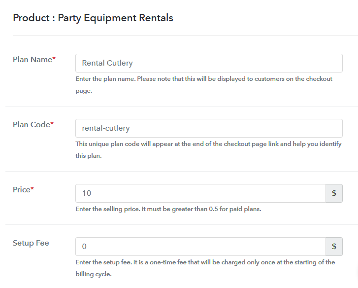 Add Plan to Sell Party Equipment Online