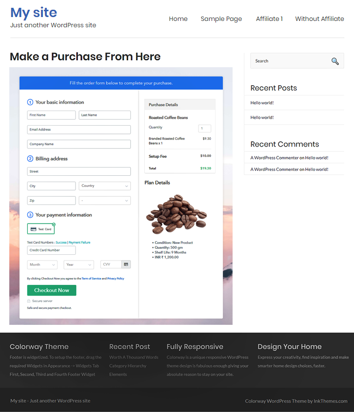 Checkout Page On Site to Sell Roasted Coffee Beans Online