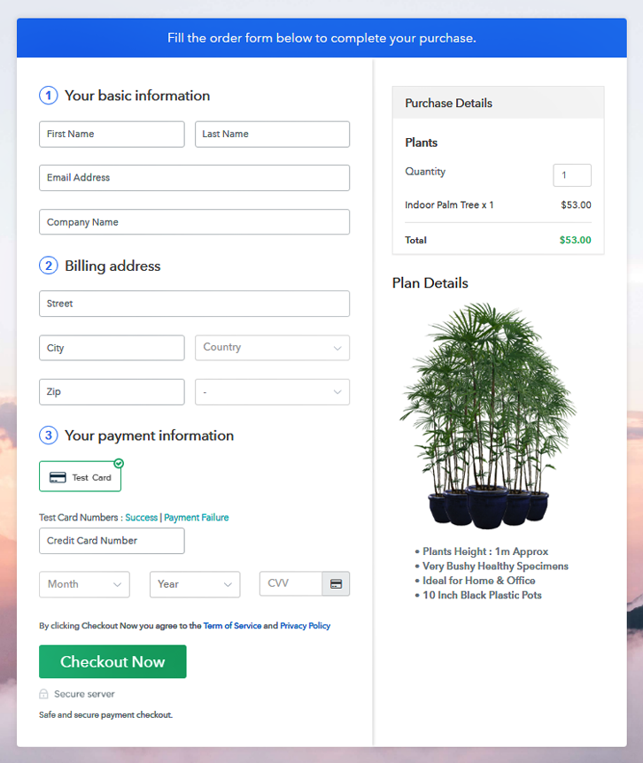 Checkout Page Preview to Sell Plants Online