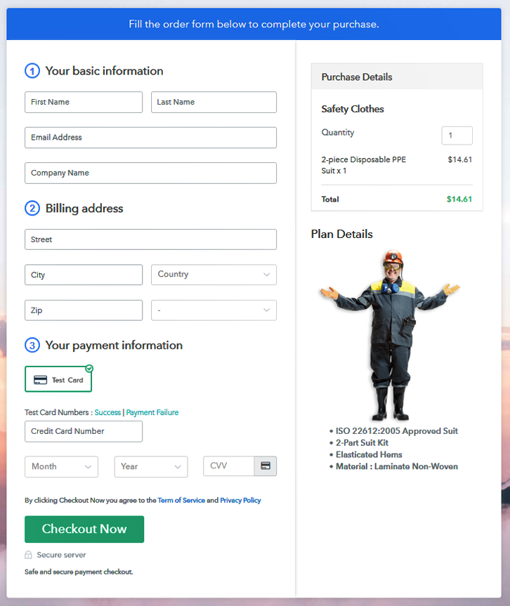Checkout Page Preview to Sell Safety Clothes Online