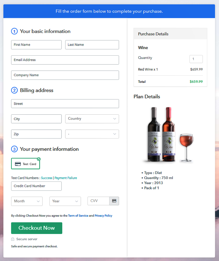 Checkout Page Preview to Sell Wine Online