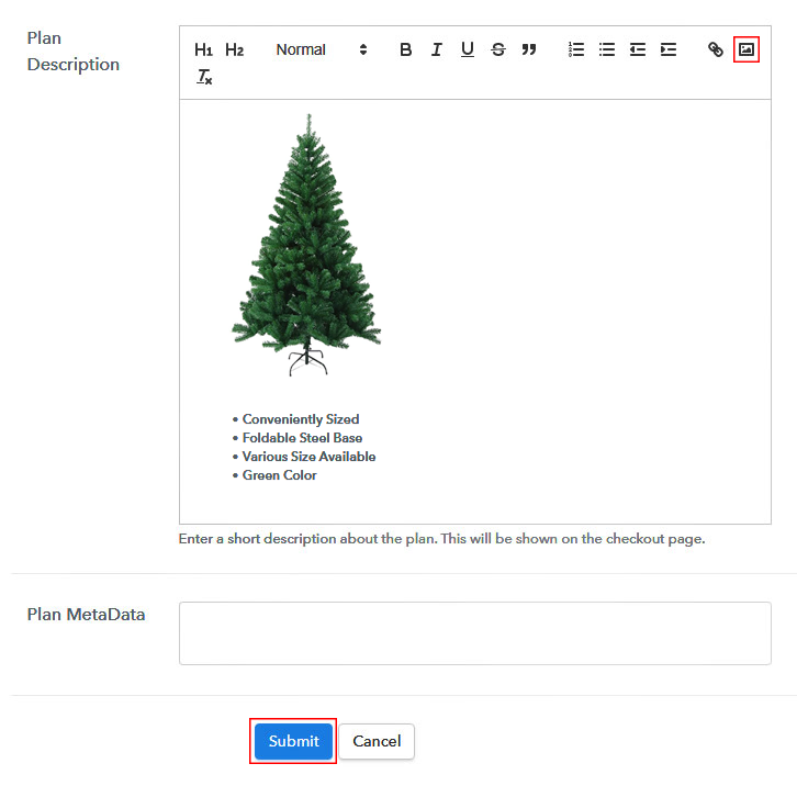Add Image & Description to Sell Christmas Trees Online