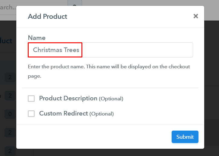 Add Product to Start Selling Christmas Trees Online