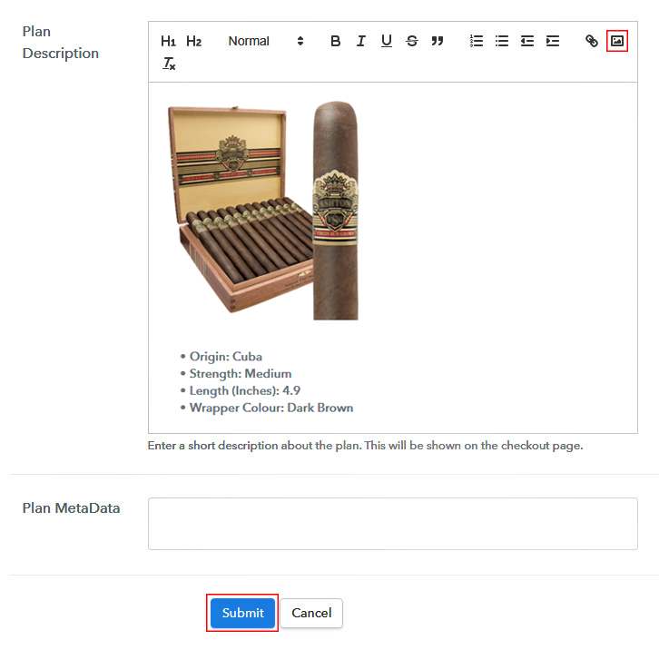 Add Image & Description to Sell Cigars Online