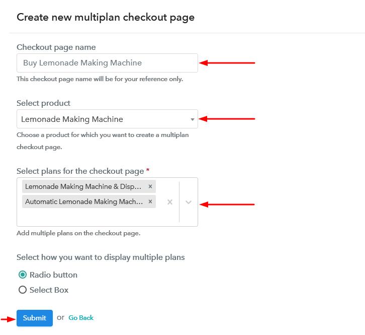 Create Multiplan Checkout to Sell Lemonade Maker Online