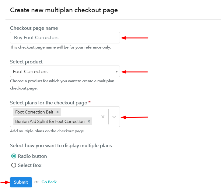 Create Multiplan Checkout to Sell Foot Correctors Online