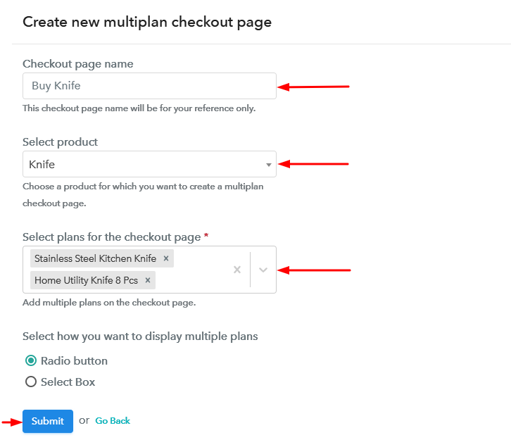 Create Multiplan Checkout to Sell Knife Online