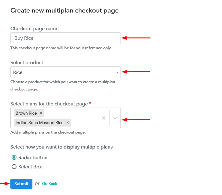 Create Multiplan Checkout to Sell Rice Online