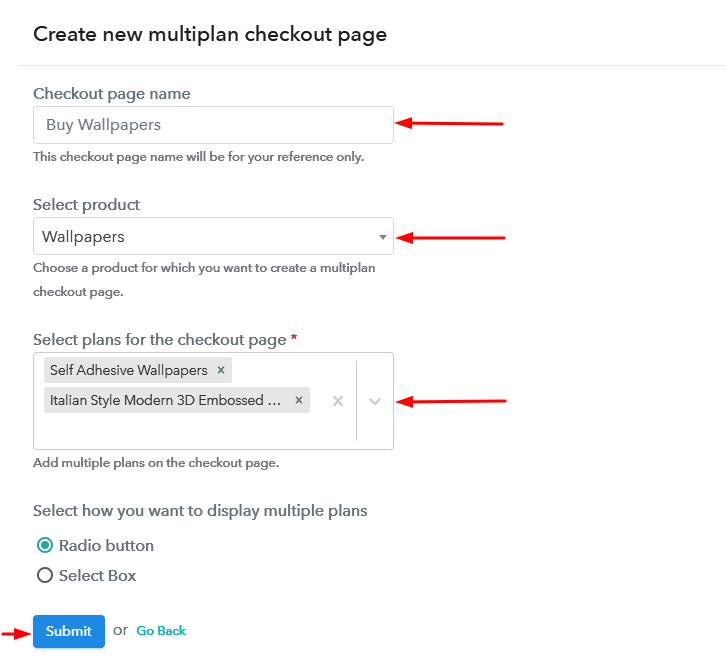 Create Multiplan Checkout to Sell Wallpapers Online