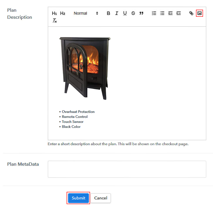 Add Image & Description to Sell Electric Fireplaces Online