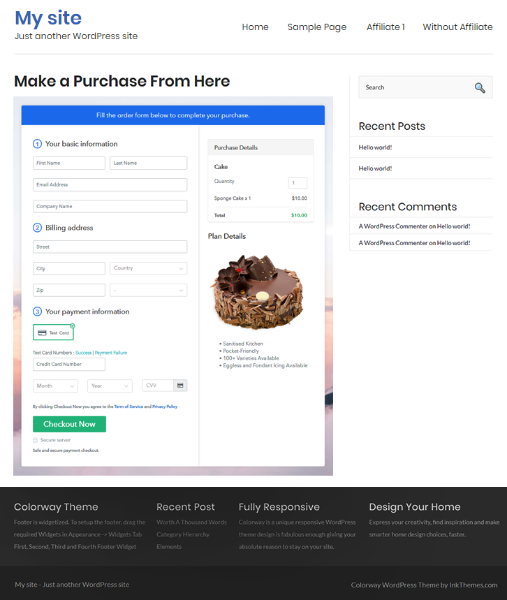 Embed Checkout Page to Website to Sell Cake Online