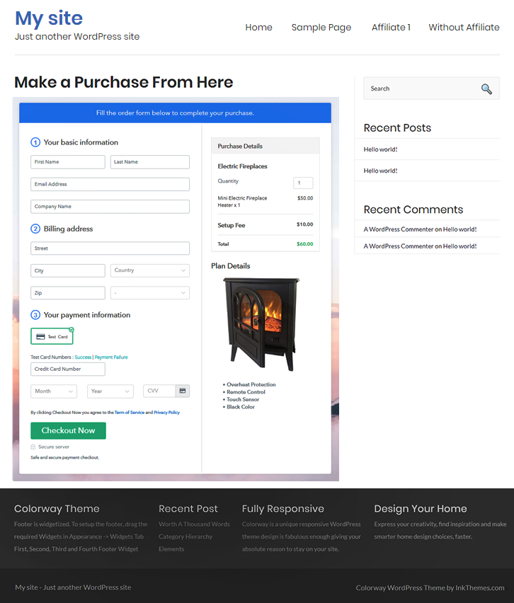 Final Look of your Checkout Page to Sell Electric Fireplaces Online