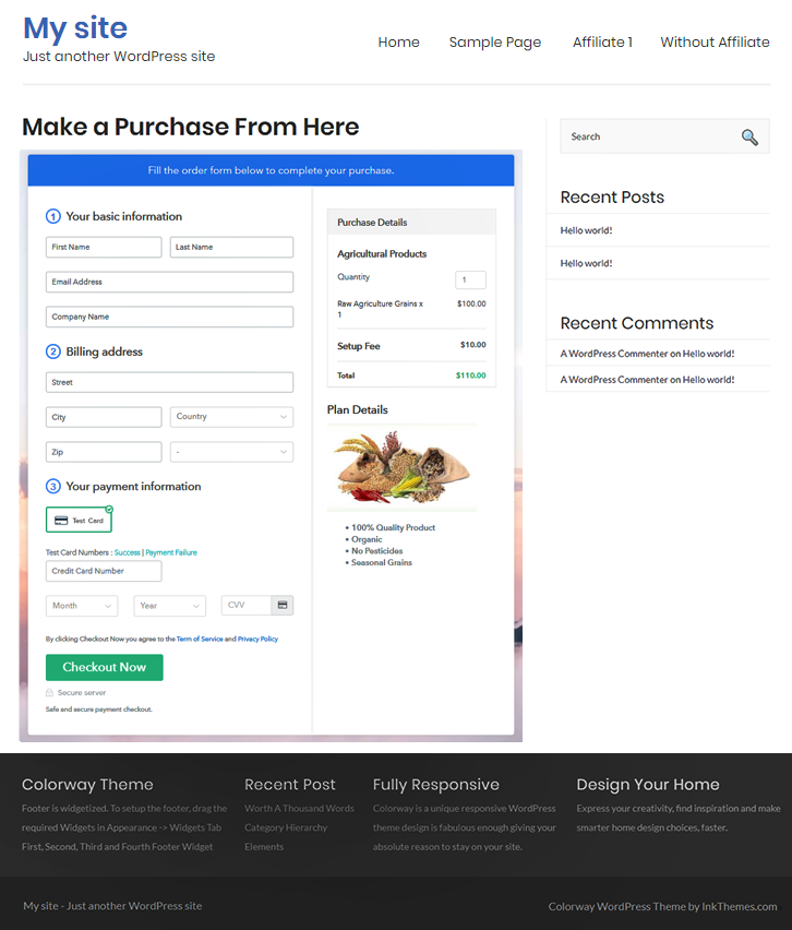 Final Look of your Checkout Page to Sell Agricultural Products Online