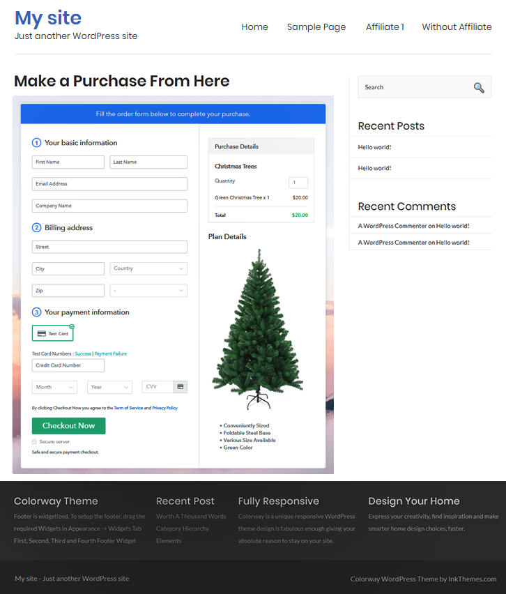 Final Look of your Checkout Page to Sell Christmas Trees Online