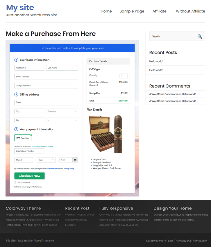 Final Look of your Checkout Page to Sell Cigars Online