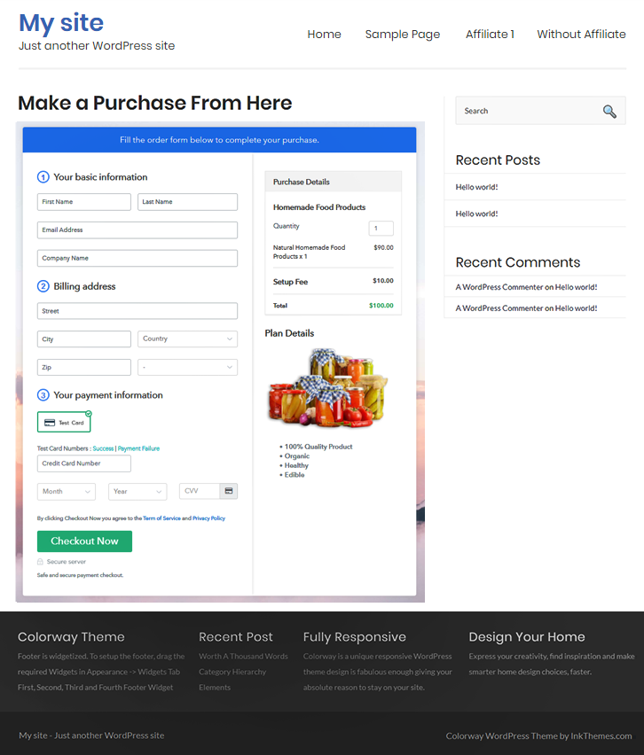 Final Look of your Checkout Page to Sell Home made Food Products Online