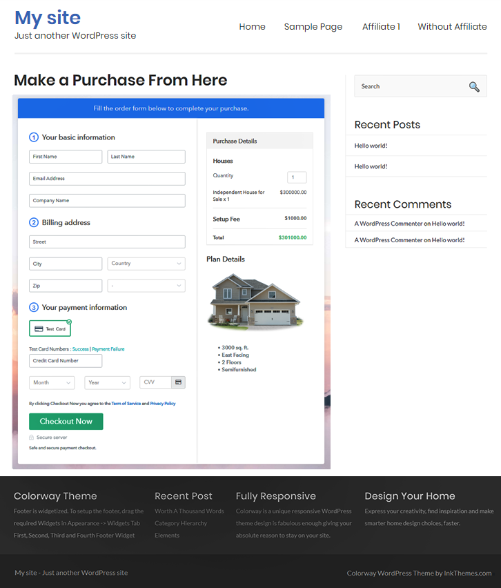 Final Look of your Checkout Page to Sell Houses Online