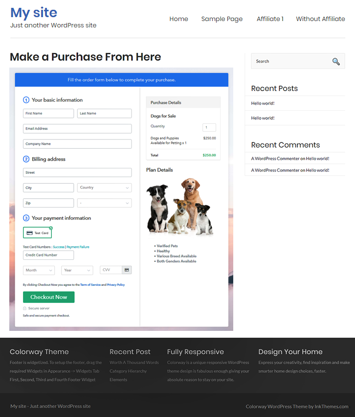 Final Look of your Checkout Page to Sell Dogs Online