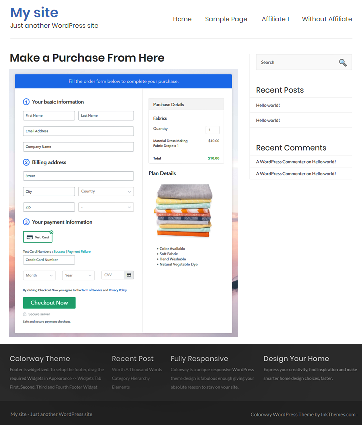 Final Look of your Checkout Page to Start Selling Fabric Online