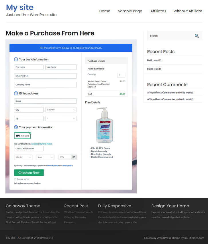 Final Look of your Checkout Page to Sell Hand Sanitizers Online