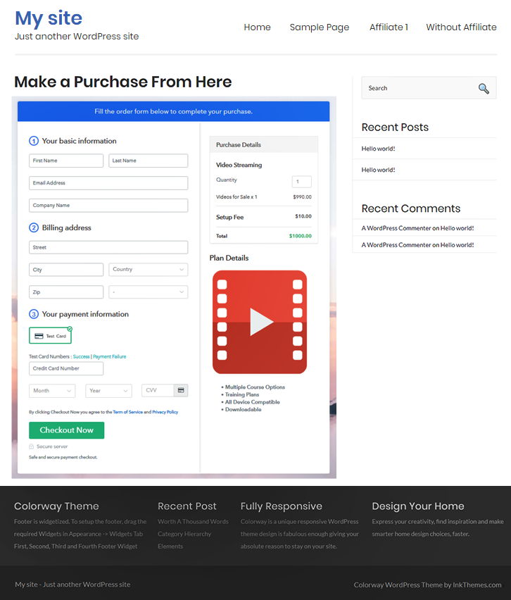 Final Look of your Checkout Page to Sell Videos Online