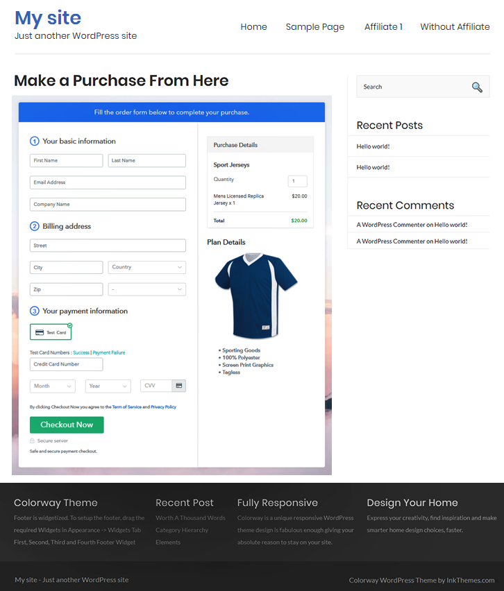 Final Look of your Checkout Page to Sell Jerseys Online