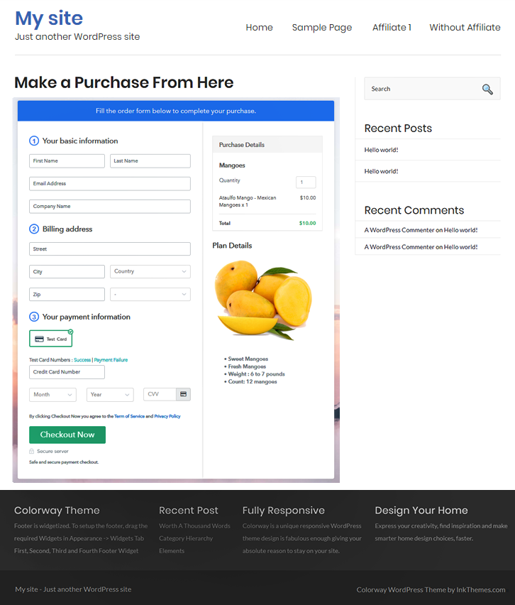 Final Look of your Checkout Page to Start Selling Mangoes Online