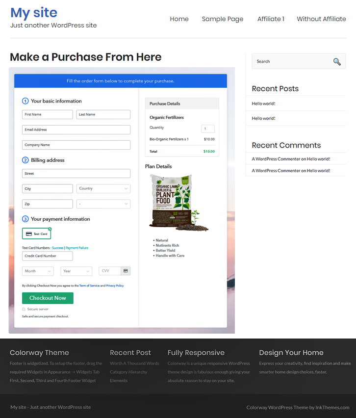 Final Look of your Checkout Page to Sell Organic Fertilizers Online