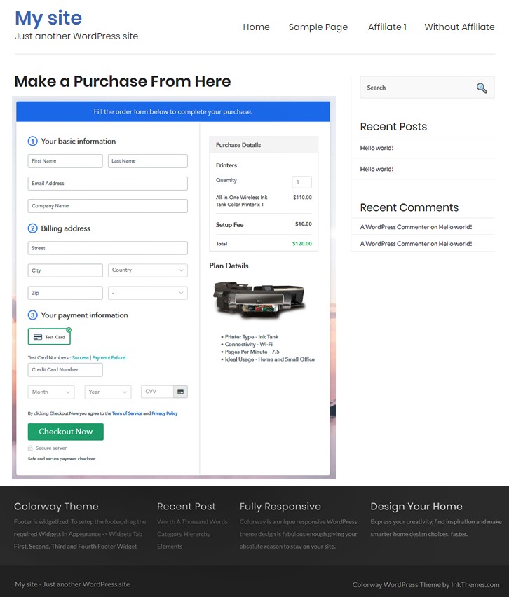 Final Look of your Checkout Page to Sell Printers Online