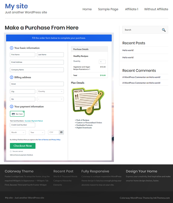 Final Look of your Checkout Page to Sell Recipes Online