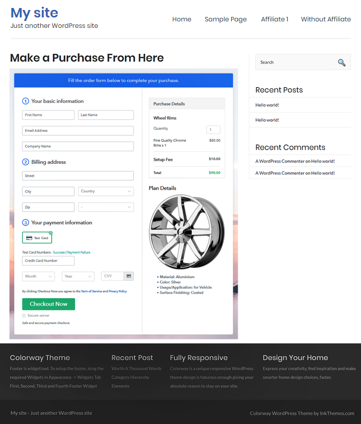 Final Look of your Checkout Page to Sell Rims Online