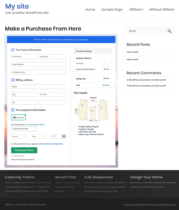 Final Look of your Checkout Page to Sell Sewing Patterns Online