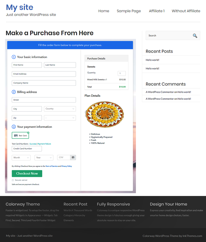 Final Look of your Checkout Page to Start Selling Sweets Online
