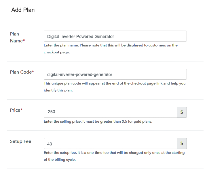 Specify the Plan & Pricing Details to Sell Generators Online